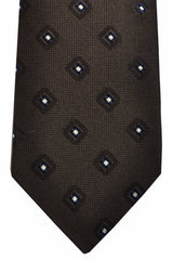Ermenegildo Zegna Tie Brown Navy Silver Diamonds