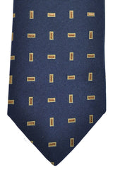 Ermenegildo Zegna Tie Navy Brown Gold Rectangles
