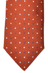 Ermenegildo Zegna Tie Copper Brown Navy Squares