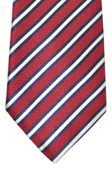 Ermenegildo Zegna Silk Tie Red Navy Silver Stripes