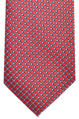 Ermenegildo Zegna Tie Red Black Silver Geometric Design