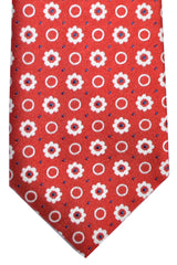 Ermenegildo Zegna Tie Red White Geometric Design