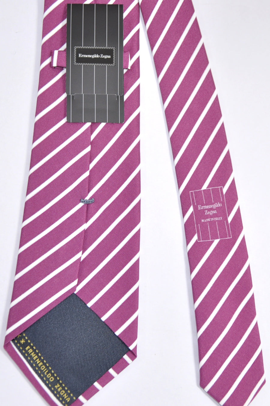 Ermenegildo Zegna Tie Cranberry White Stripes Cotton Silk FINAL SALE