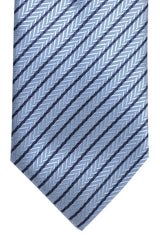 Ermenegildo Zegna Tie Metallic Gray Navy Stripes Design