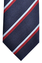 Ermenegildo Zegna Tie Navy Sky Blue Red Stripes
