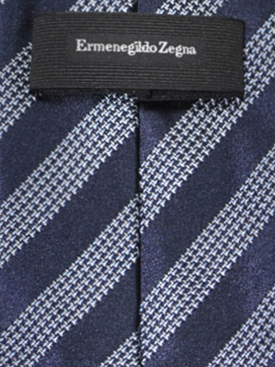 Ermenegildo Zegna Silk Tie Dark Blue Silver Stripes