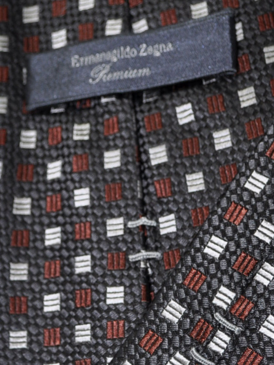 Ermenegildo Zegna Tie Gray Brown Silver Geometric - Premium Collection