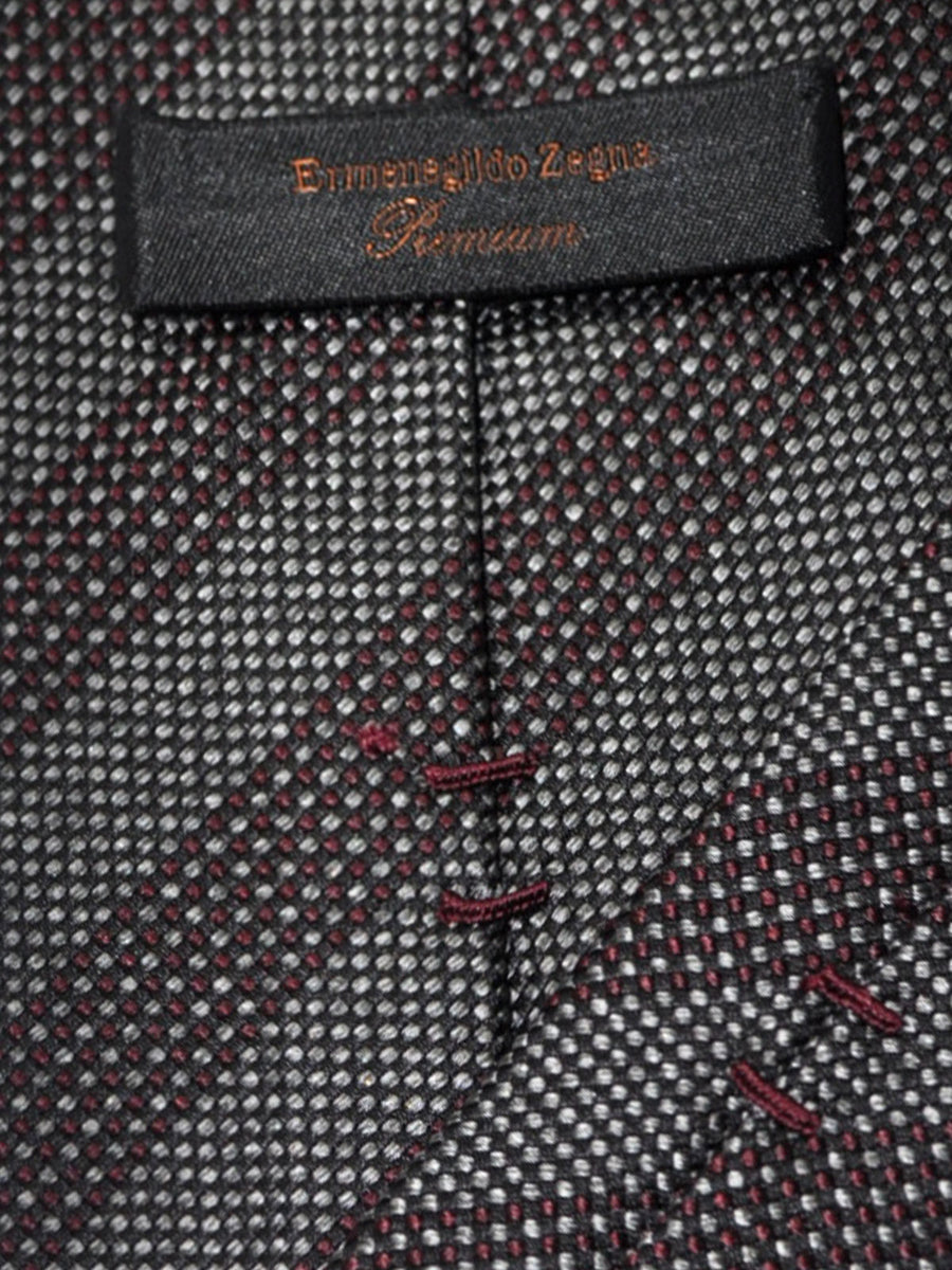 Ermenegildo Zegna Tie Gray Maroon Geometric Stripes - Premium Collection