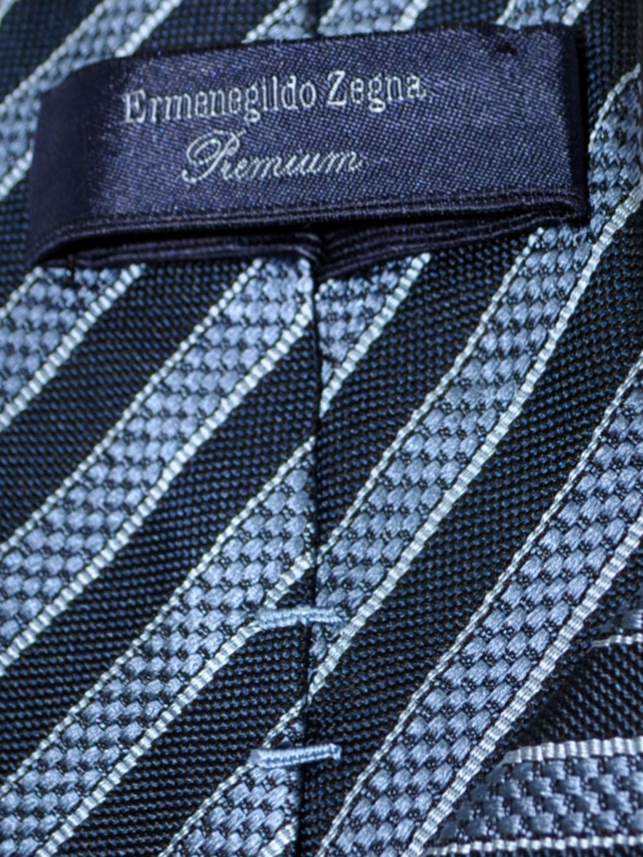 Ermenegildo Zegna Tie Navy Blue Stripes - Premium Collection