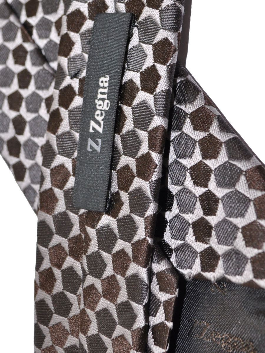 Z Zegna Tie Gray Brown Geometric Narrow Necktie