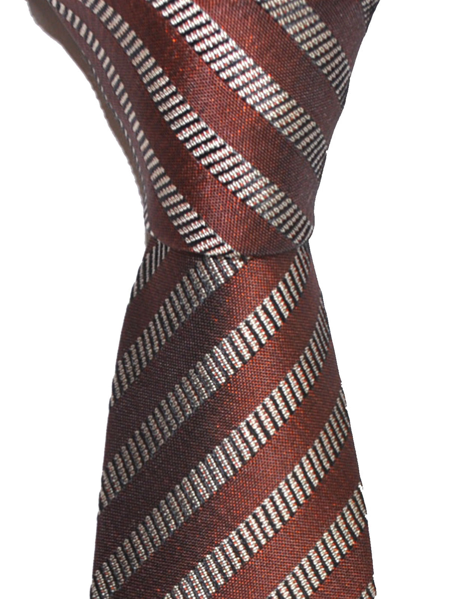 Z Zegna Tie Brown Gray Stripes Narrow Necktie