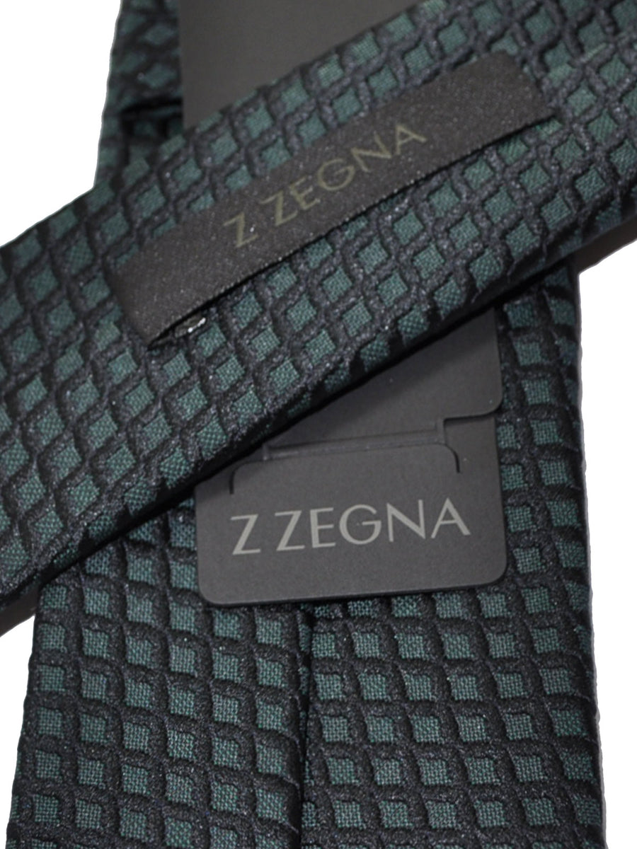 Z Zegna Tie Dark Green Gray Geometric Narrow Necktie