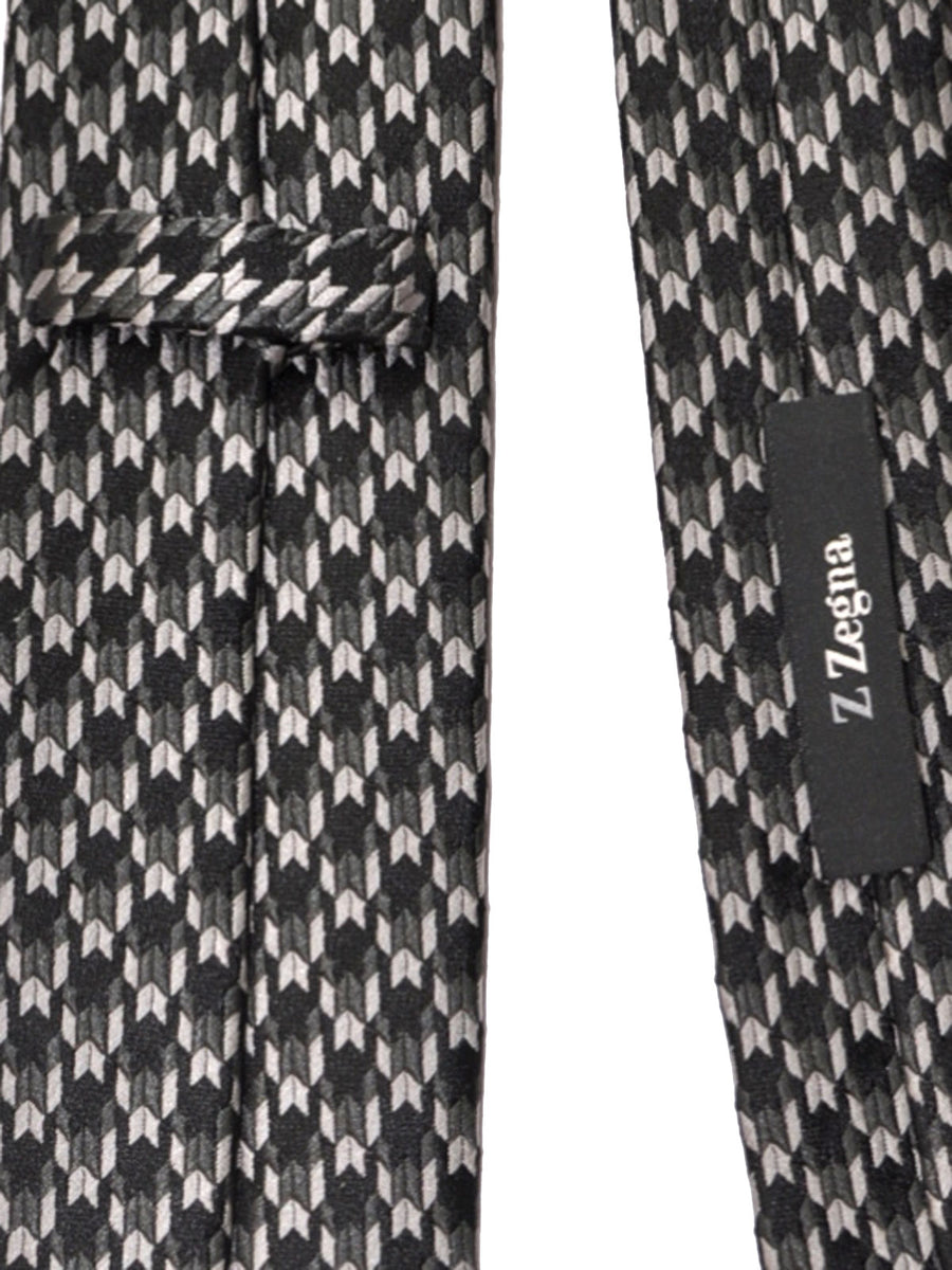 Z Zegna Tie Gray Black Geometric Narrow Necktie