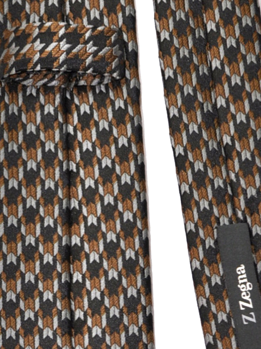 Z Zegna Tie Gray Tan Black Geometric Narrow Necktie