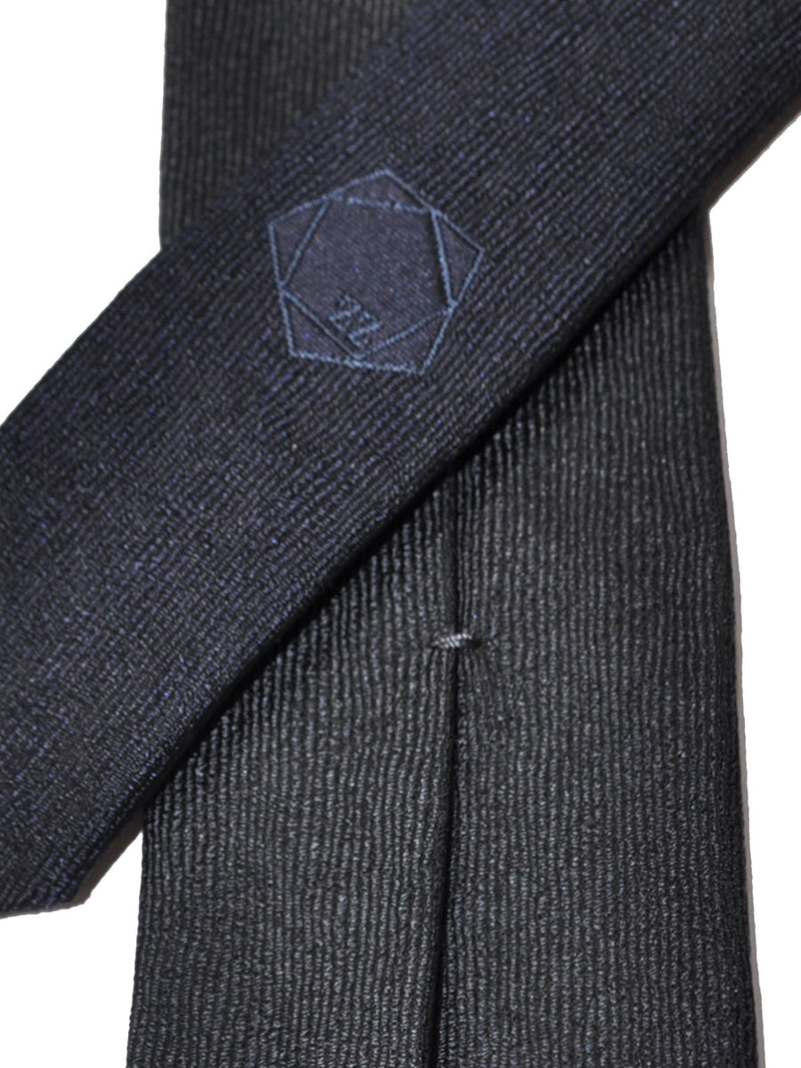 Z Zegna Tie Gray Dark Blue Grosgrain Narrow Necktie