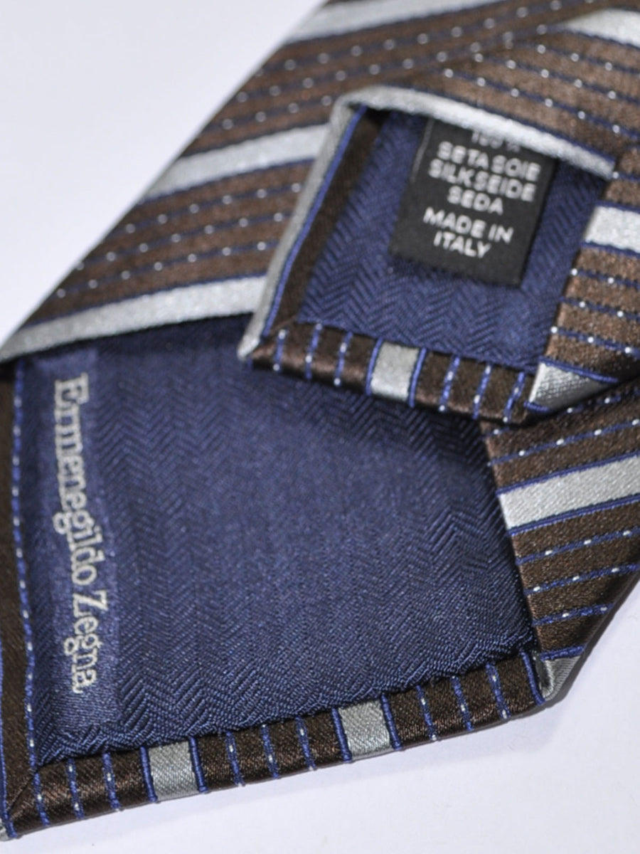 Ermenegildo Zegna Silk Tie Brown Midnight Blue Gray Stripes