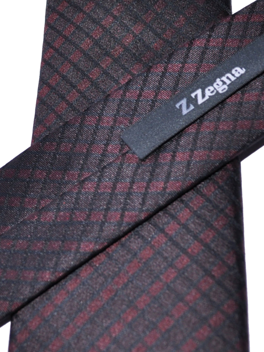 Z Zegna Tie Brown Black Stripes Narrow Necktie
