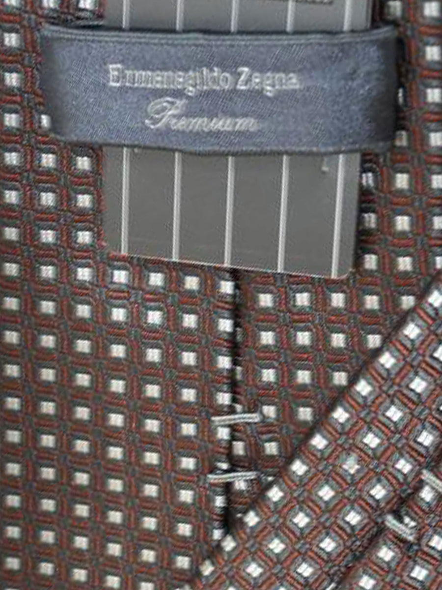 Ermenegildo Zegna Tie Gray Brown Geometric - Premium Collection