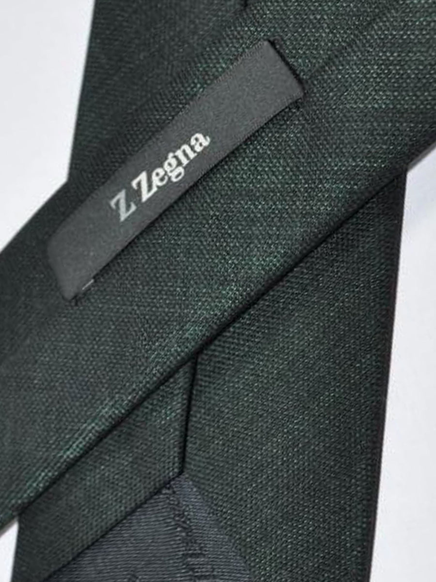Z Zegna Tie Black Dark Green Necktie