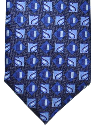 Ermenegildo Zegna Silk Tie Navy Royal Blue Geometric