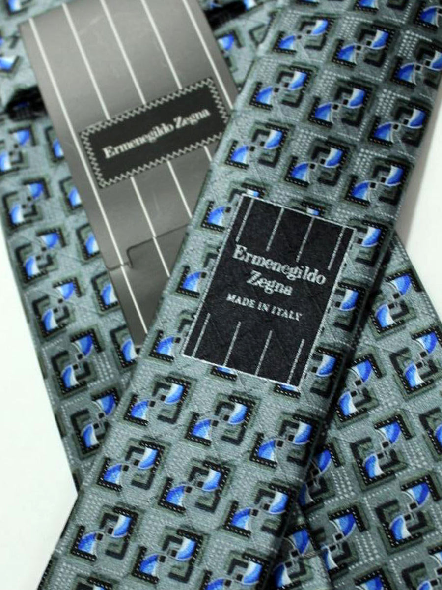 Ermenegildo Zegna Tie Gray Royal Blue Geometric Design
