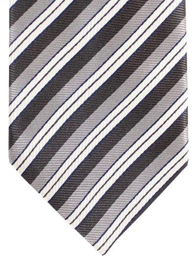Ermenegildo Zegna Silk Tie Gray Black Silver Stripes