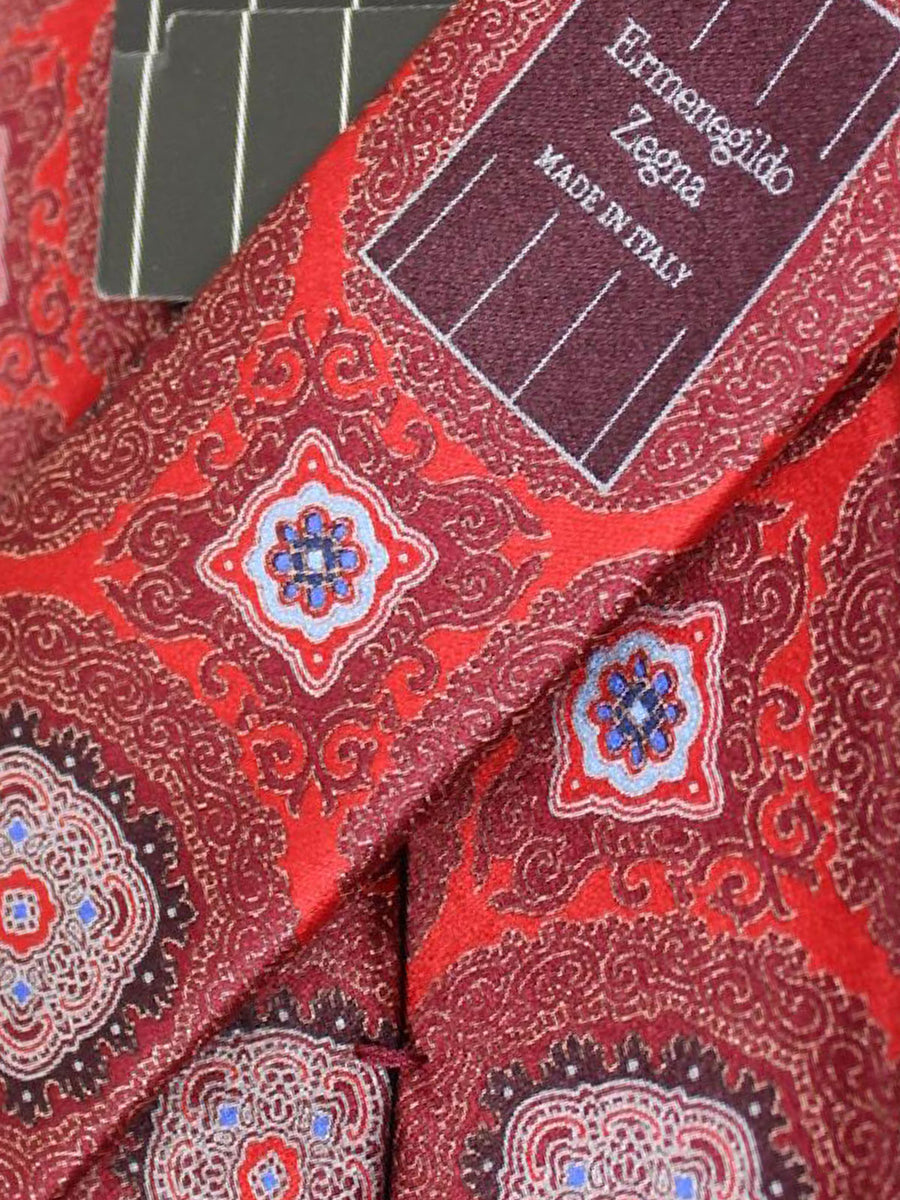 Ermenegildo Zegna Silk Tie Red Maroon Royal Blue Medallion