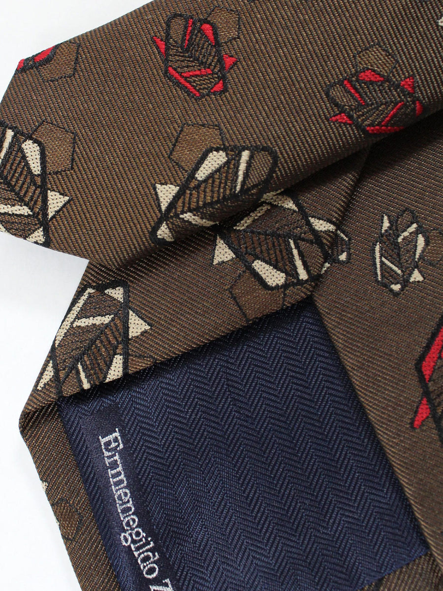 Ermenegildo Zegna Tie Brown Leaves