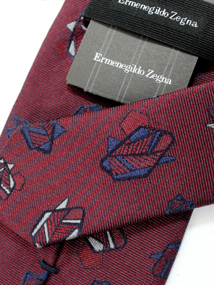Ermenegildo Zegna Tie Burgundy Leaves
