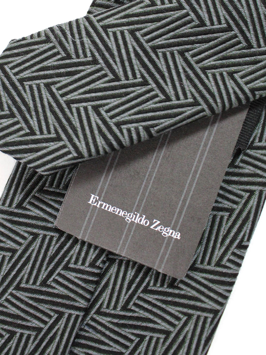 Ermenegildo Zegna Tie Forest Green Midnight Blue Geometric