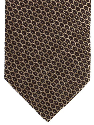 Ermenegildo Zegna Tie Brown Gold Geometric