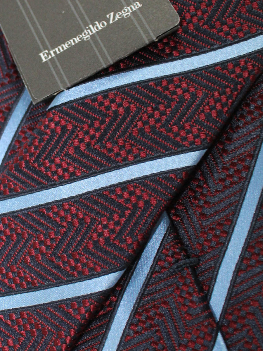 Ermenegildo Zegna Tie Black Maroon Royal Stripes