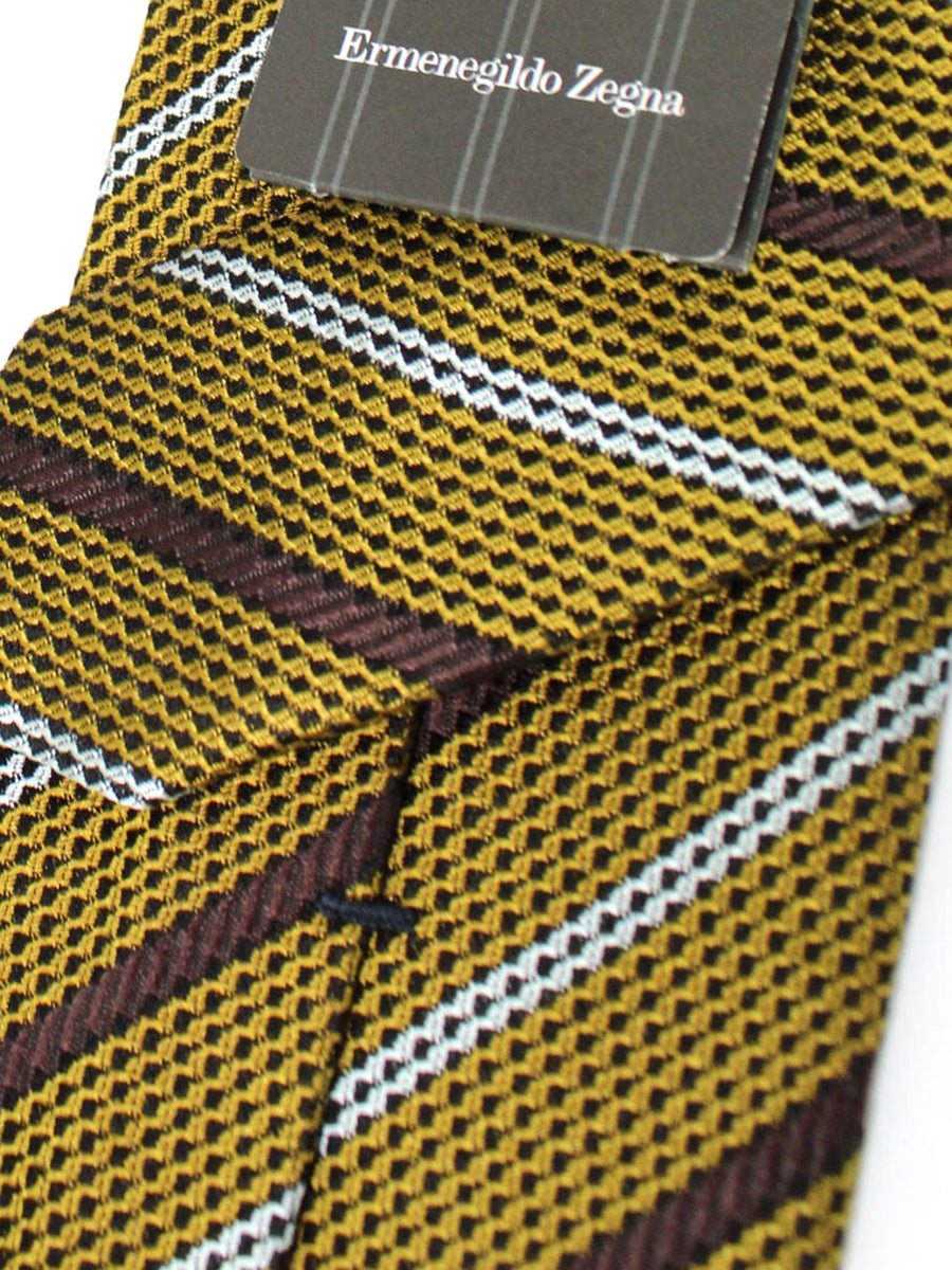 Ermenegildo Zegna Tie Olive Brown Silver Stripes