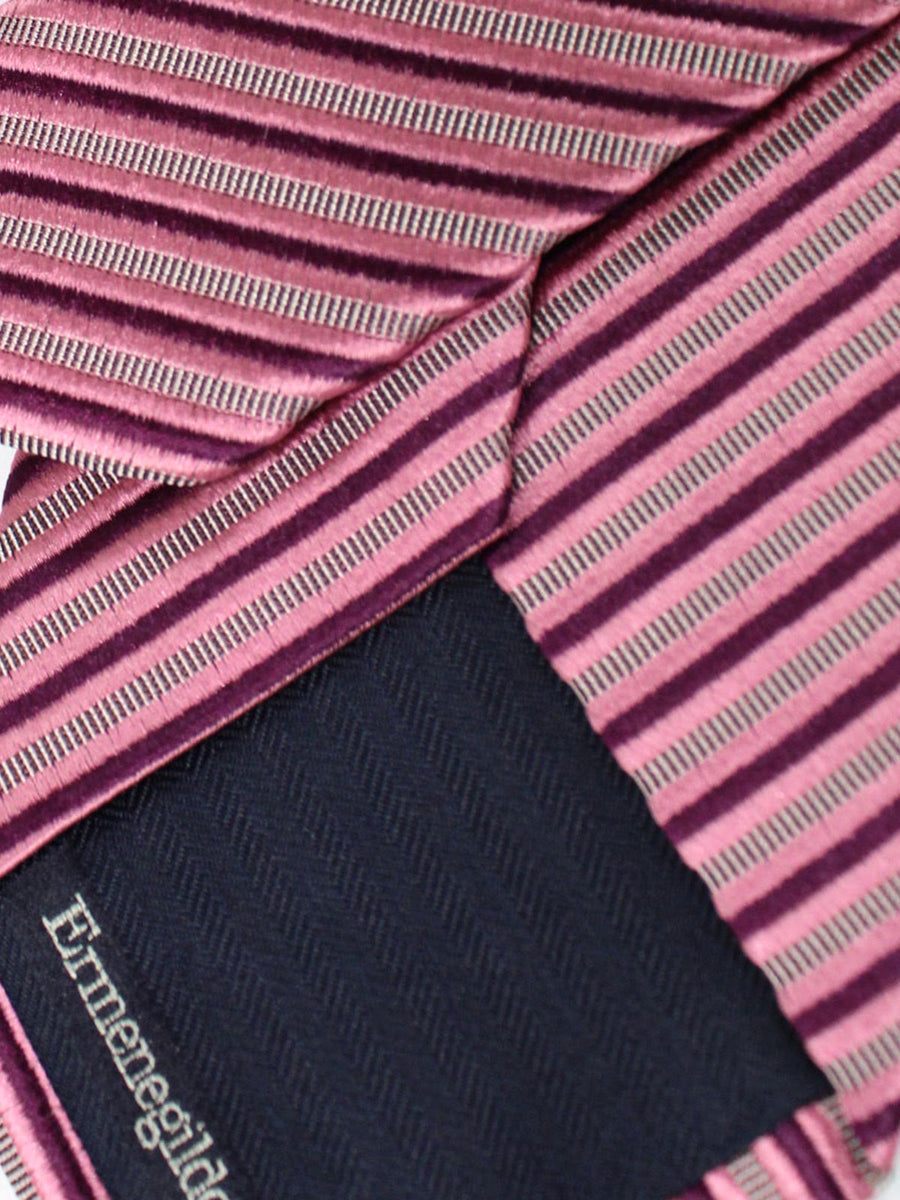 Ermenegildo Zegna Tie Pink Purple Stripes