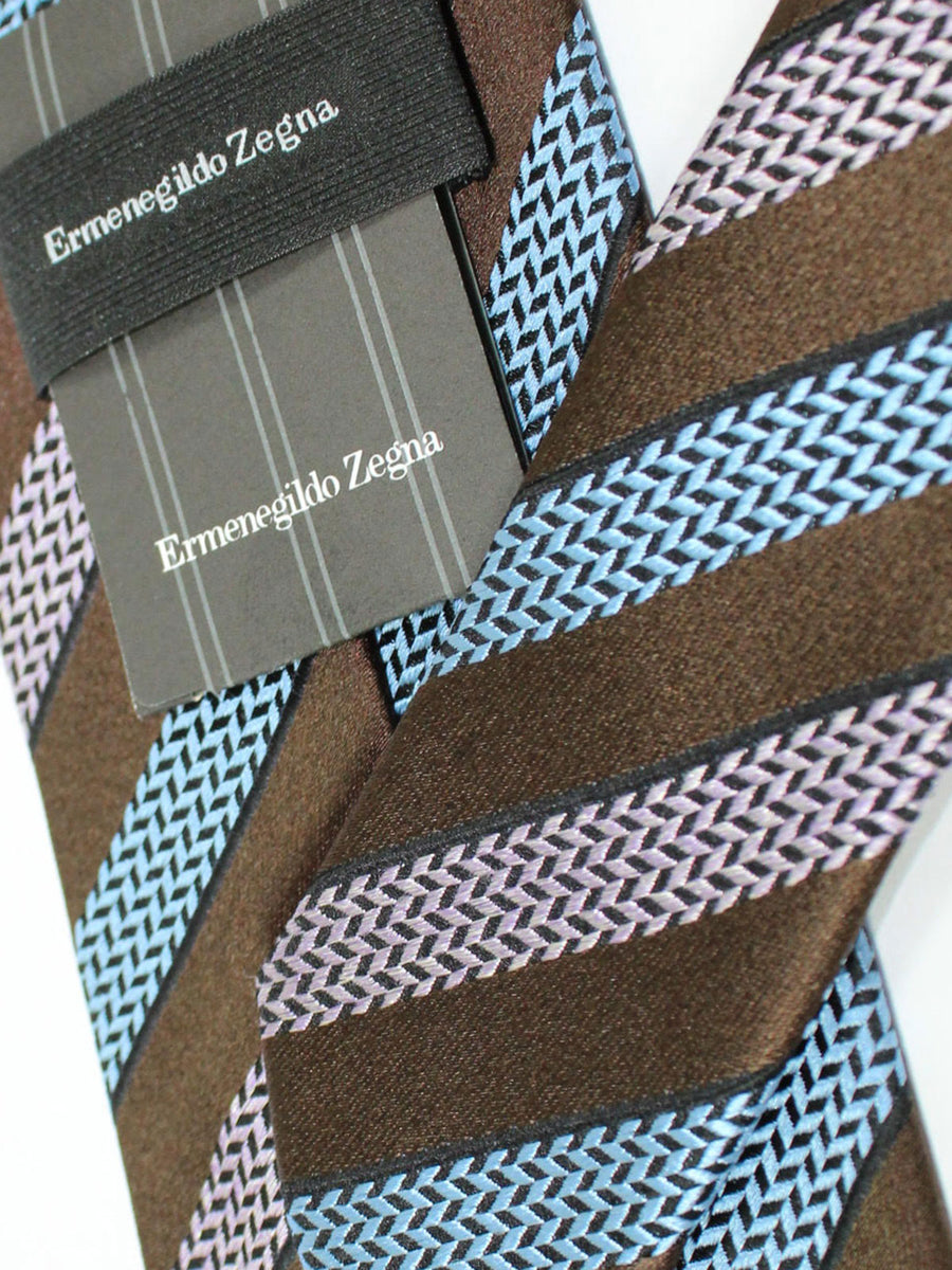 Ermenegildo Zegna Silk Tie Brown Pink Blue Stripes