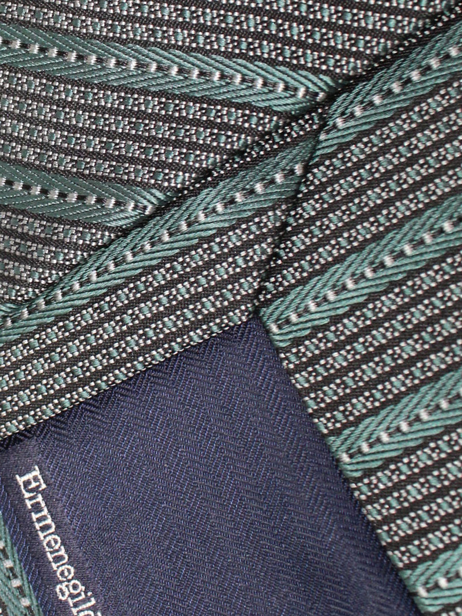 Ermenegildo Zegna Silk Tie Gray Green Stripes