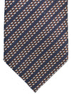 Ermenegildo Zegna Tie Dark Blue Silver Brown Stripes