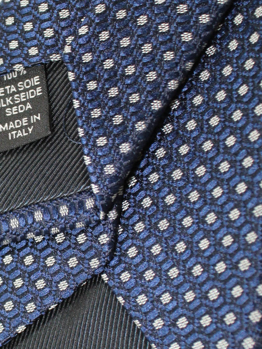Ermenegildo Zegna Tie Midnight Blue Silver Geometric Design
