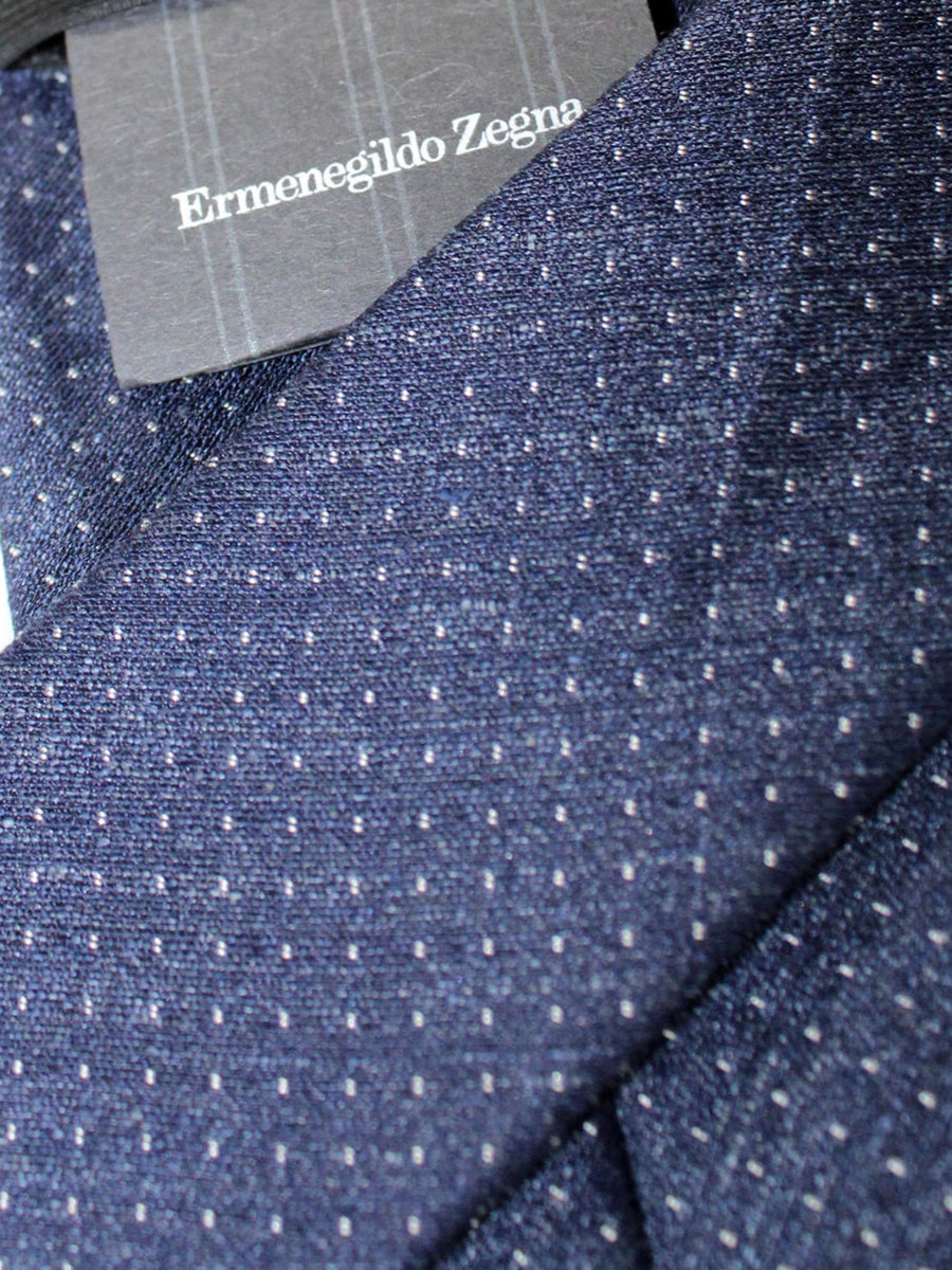 Ermenegildo Zegna Narrow Tie Dark Blue Silver Dots Design