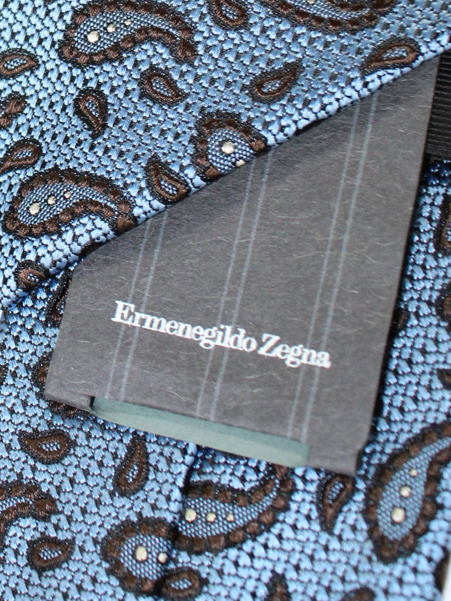 Ermenegildo Zegna Narrow Tie Periwinkle Blue Brown Paisley Design