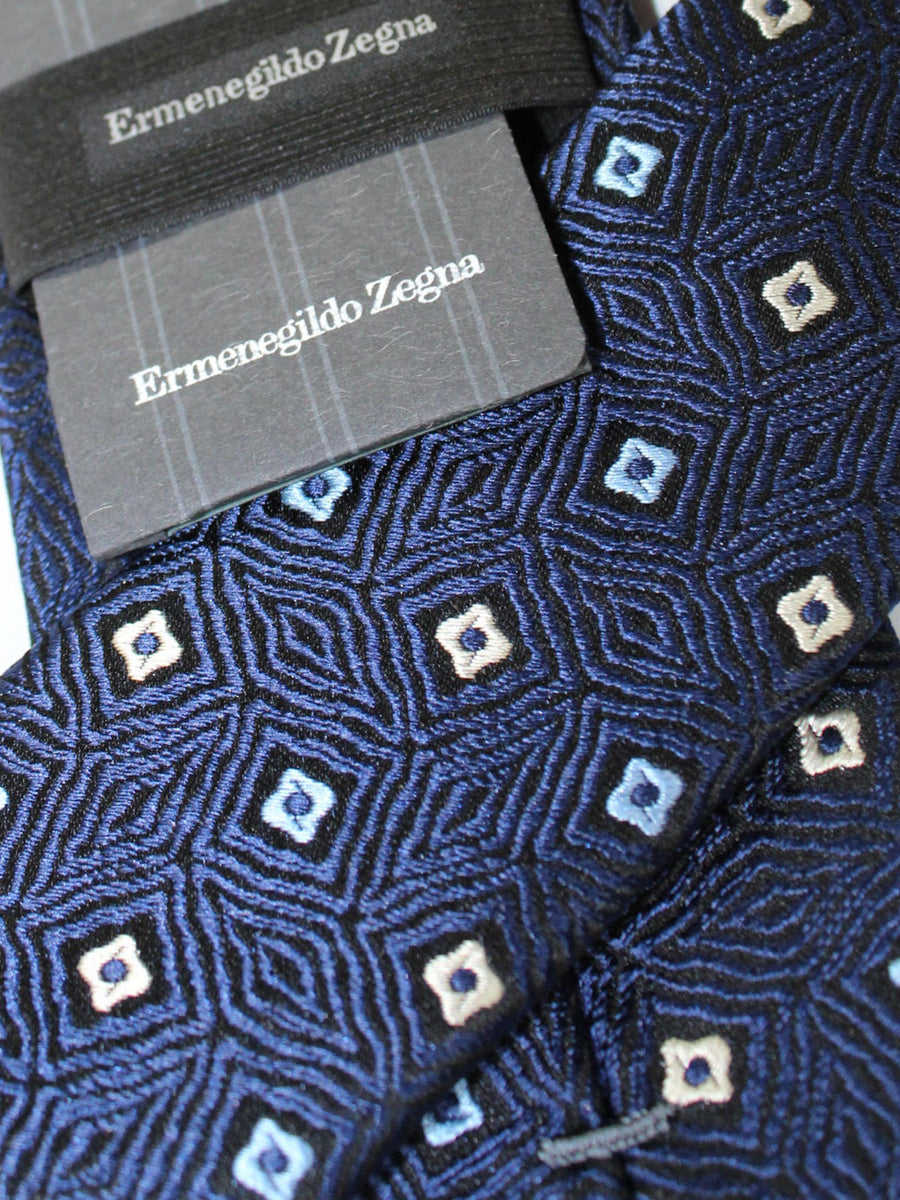 Ermenegildo Zegna Narrow Tie Navy Black White Geometric Design