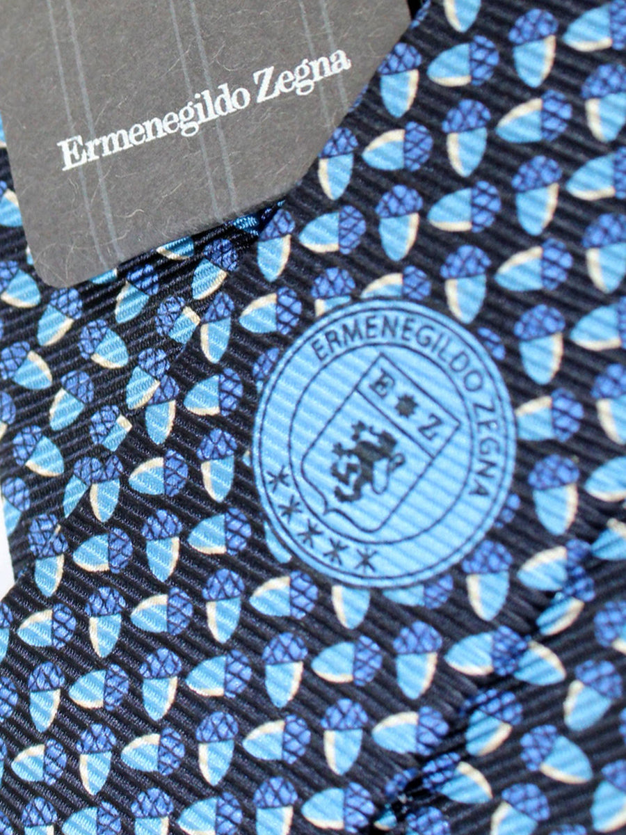 Ermenegildo Zegna Tie Dark Blue Acorns Narrow Necktie