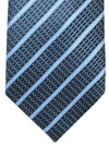 Ermenegildo Zegna Silk Tie Dark Blue Teal Stripes