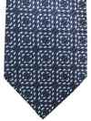 Ermenegildo Zegna Silk Tie Black Sky Blue Stripes Geometric
