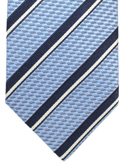 Ermenegildo Zegna Silk Tie Sky Blue Navy Stripes