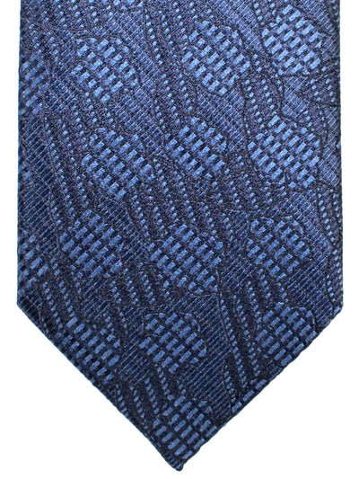 Ermenegildo Zegna Silk Tie Black Metallic Blue Design