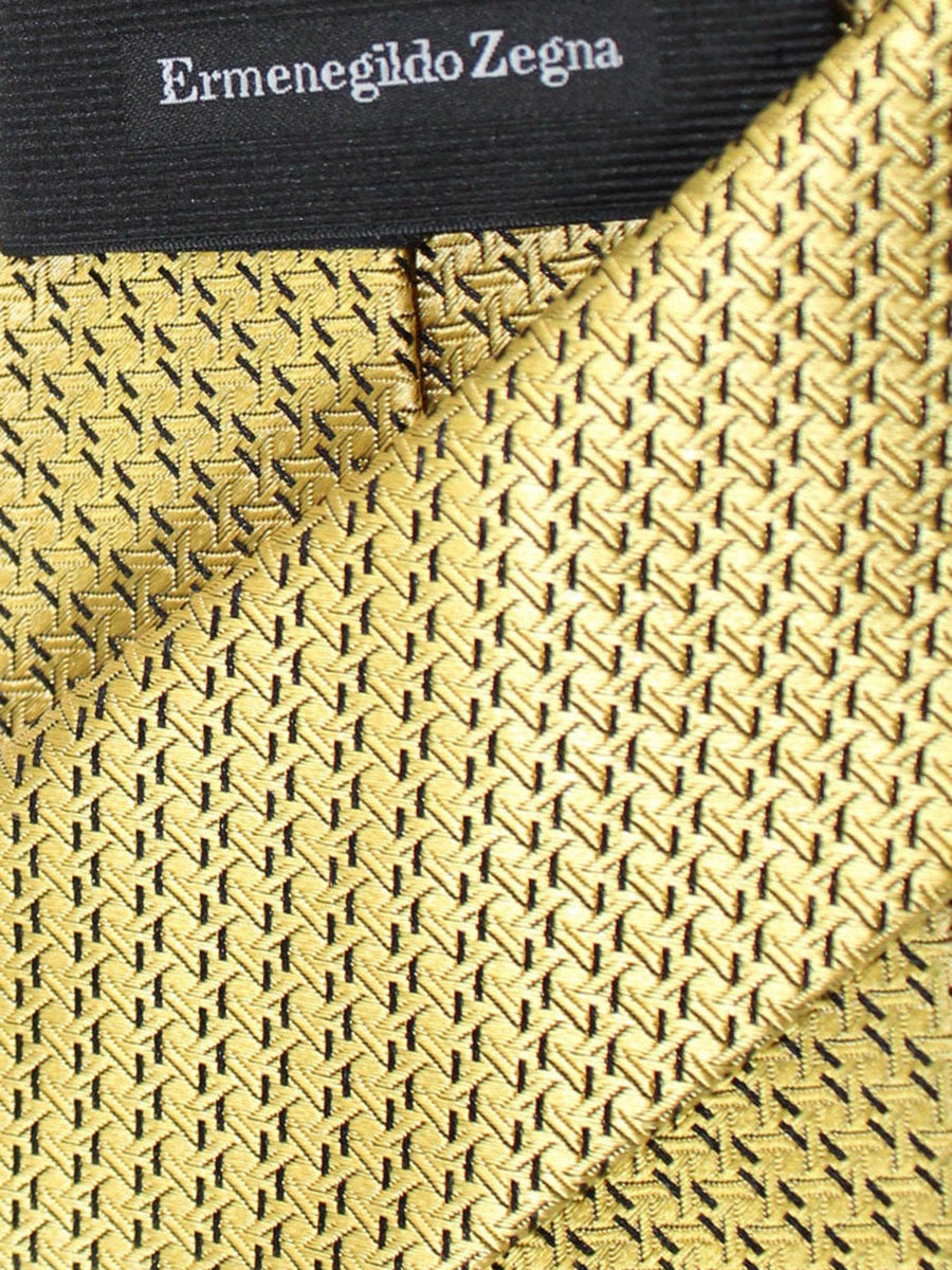 Ermenegildo Zegna Tie Yellow Gold Geometric Design