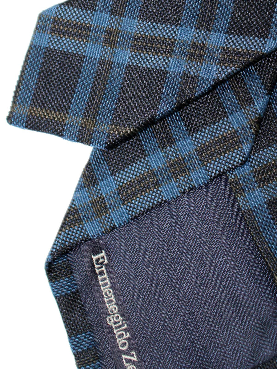 Ermenegildo Zegna Tie Blue Dark Blue Plaid