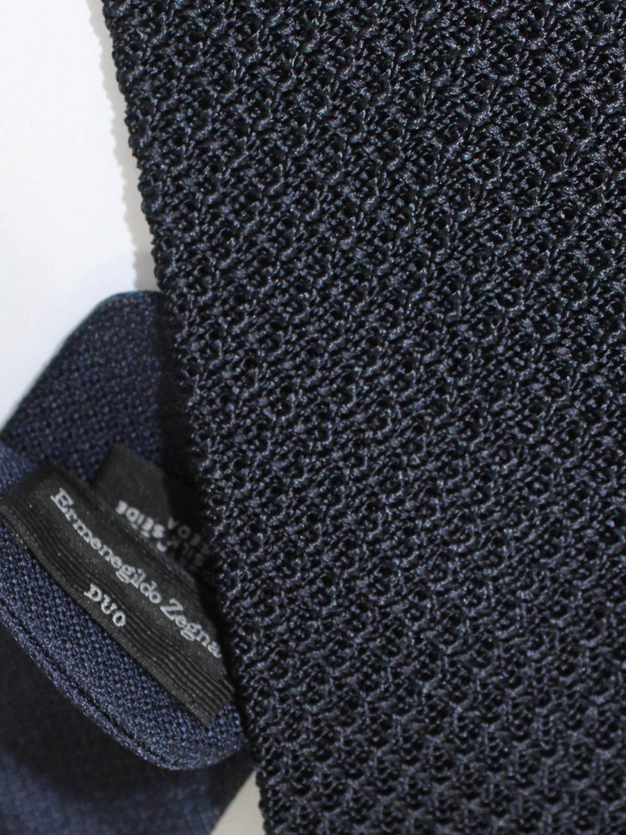 Ermenegildo Zegna Tie Dark Blue Knitted Narrow Necktie