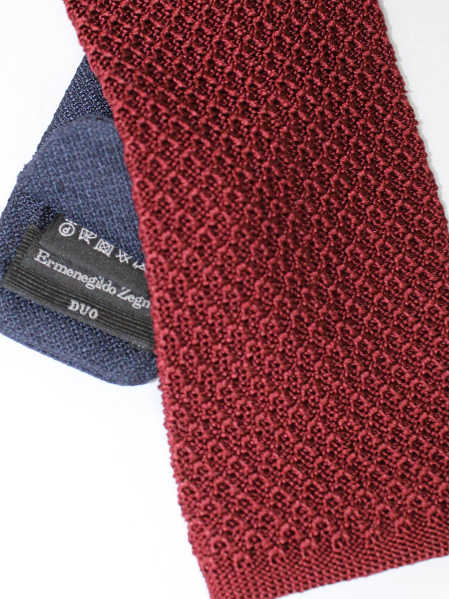 Ermenegildo Zegna Tie Burgundy Wine Purple Knitted Narrow Necktie